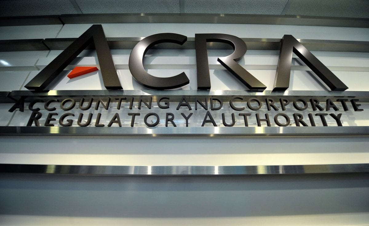 front sign of the ACRA entity which regulates accounting firms in Singapore