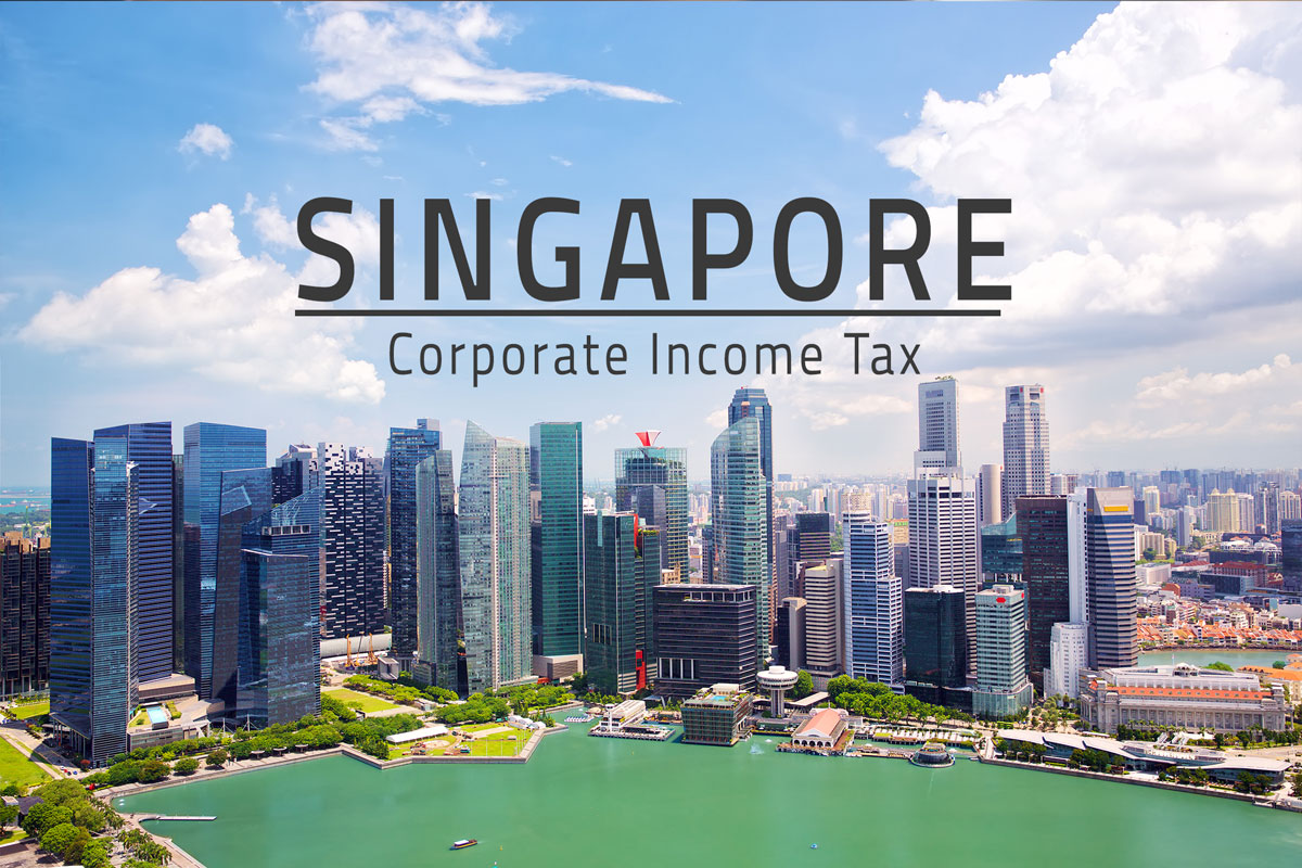 words: singapore corporate tax rate overlaying skyline of downtown singapore